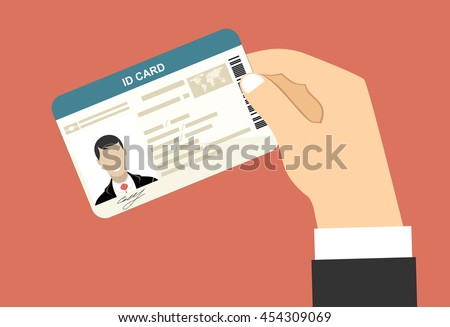 Men hand hold ID Card. Flat design style.