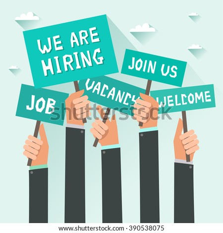 Men hands holding signs with text Vacancy, Job, We are hiring, Join us, Welcome. Vector colorful illustration in flat design - stock vector