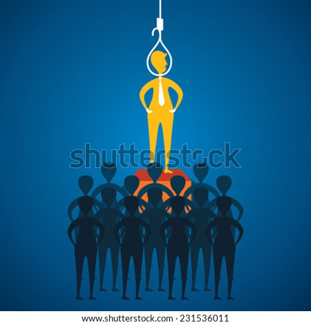 men hanging with rope for business crash concept design vector - stock vector