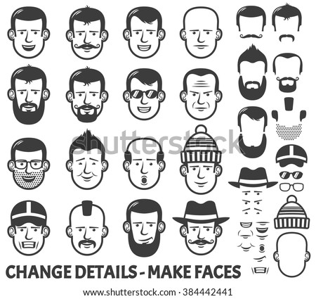 Men head and face constructor. All parts separately - just ungroup them, change the parts places and have new faces! - stock vector