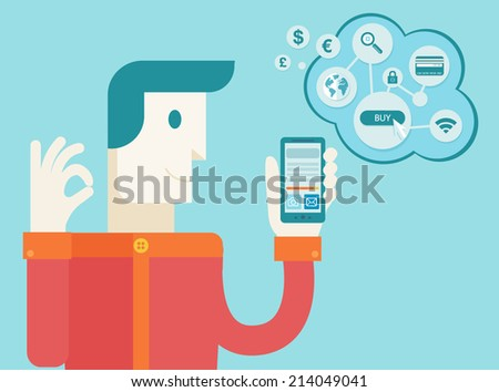 Men holding mobile phone with icons. Concept of communication in the network. File stored in version AI10 EPS. Flat design, online shopping - stock vector