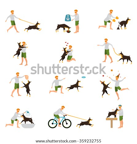 Men, in casual clothes walking the dogs of different breeds, active people, leisure time, dog lovers, dog show, dog training. Dog trainer. Dog obedience. Set of isolated flat icons. - stock vector