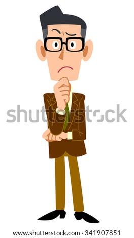 Men jacket worn brown think - stock vector