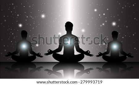 men meditate, yoga. on black sky background. star - stock vector
