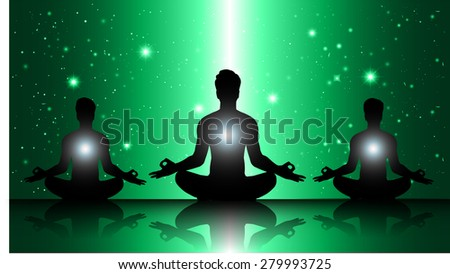 men meditate, yoga. on green sky background. star - stock vector