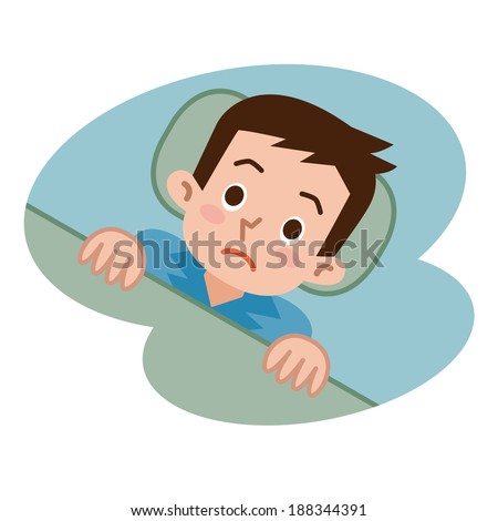 Men not sleep in insomnia - stock vector