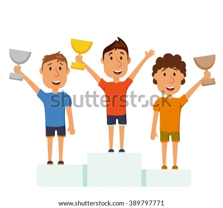 Men on a pedestal. Group of athletes win the competition. The final of marathon. Winners stands on a pedestal. The awards for first, second and third place. Cartoon characters with cups on the podium - stock vector