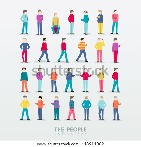 Men People Icon with Different Poses Collection Vector Design - stock vector