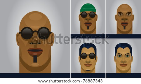 Men portraits. Easy editable layered vector file.