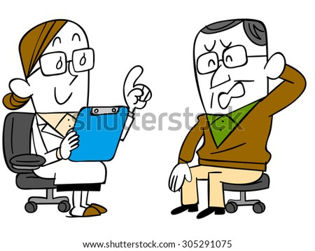 Men receive the attention from the doctor - stock vector