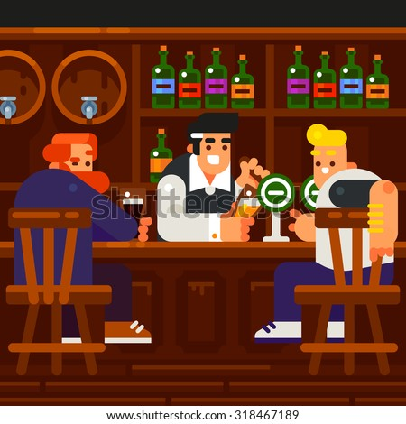 Men Rest and Drink at the Pub. Vector flat illustration. - stock vector