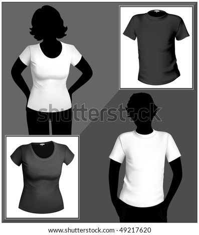 Men's and women's white and black t-shirt template with human body silhouette. - stock vector
