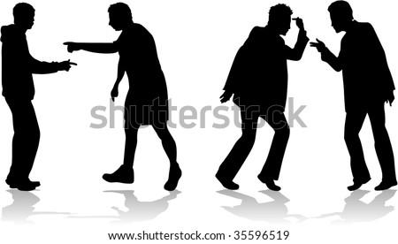 Men's arguing scenes - stock vector