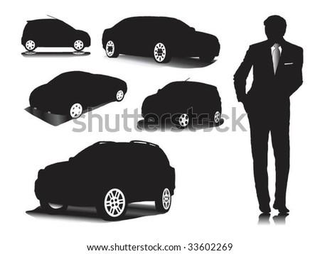 Men's charm. Cars. - stock vector