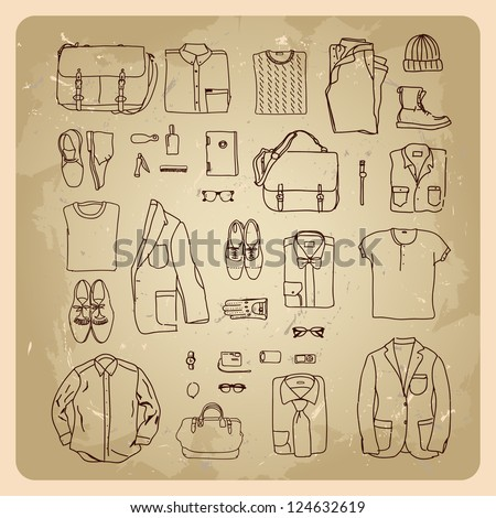 men's clothes sketches men fashion clothes and accessories - stock vector
