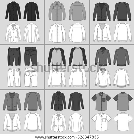 Men's clothing outlined template set front & back view (jacket, shirt, cardigan, shorts, sweatshirt, sports pullover), vector illustration isolated on grey background