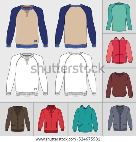 Men's clothing outlined template set front view (jacket, raglan t shirt, hoodie, sweatshirt, sports pullover), 