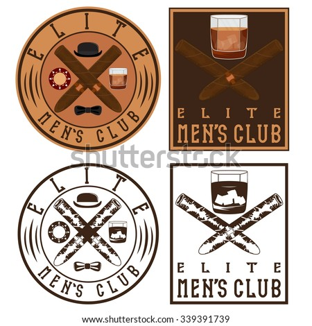 men's club vintage labels with cigars and whiskey glass - stock vector