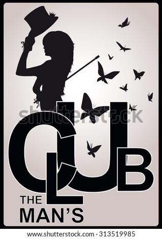men's club vintage labels with fashion girl - stock vector