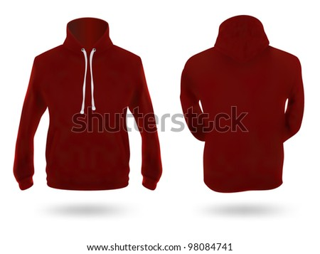 Men's dark red training hoodie template. Front and back views.
