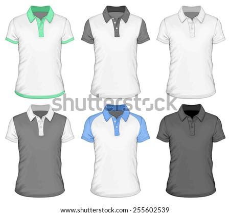 Men's different color short sleeve polo-shirt. Vector illustration. - stock vector