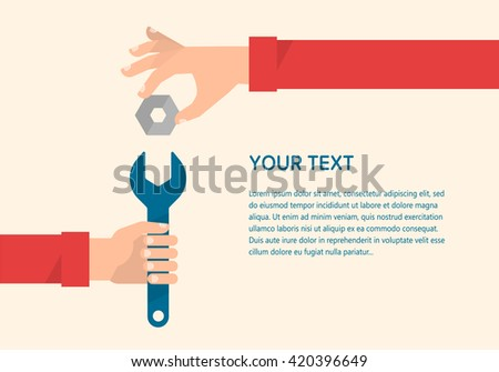 Men's hands hold a wrench and a gear. Mechanical engineering, technical support concept. Isolated vector illustration flat design. Template for your text - stock vector