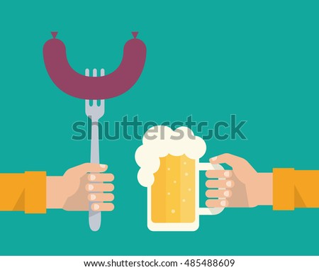 Men's hands holding a fork with a sausage and a mug of a beer with a white foam. Food and drink concept. Flat design vector illustration.