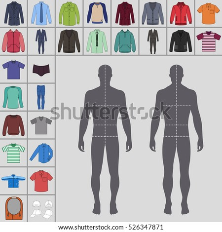 Men's large clothing outlined template set (single breasted suit, shirt, pullover, hoodie, quilted jacket etc.)  & man croquis silhouette, vector illustration isolated on grey background
