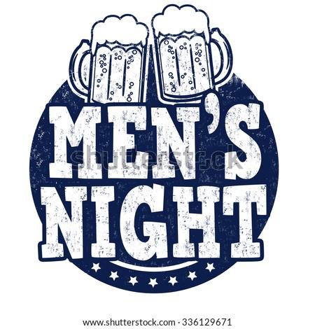 Men's night grunge rubber stamp on white background, vector illustration - stock vector