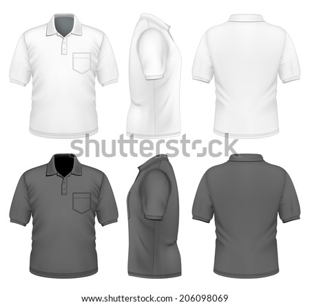 Men's polo-shirt design template (front, back and side views). Black and white variants.Illustration contains gradient mesh. Photo-realistic vector illustration. - stock vector