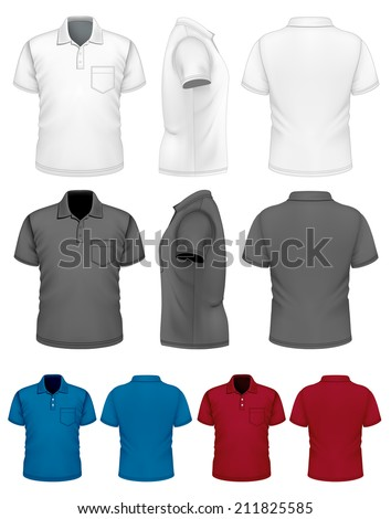 Men's polo-shirt design template (front, rear, side views). Illustration contains gradient mesh. Photo-realistic vector illustration. White, black and color variants. - stock vector