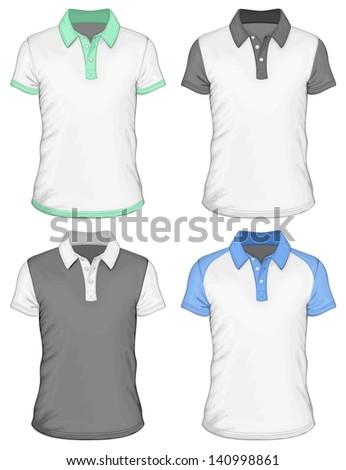Men's  polo-shirt design templates (front view). Vector illustration. Spot colors only. No mesh. - stock vector