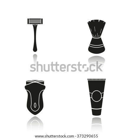 Men's shaving accessories drop shadow icons set. Shaving razor, shaving brush, electric shaver and aftershave cream. Facial hair grooming kit. Barbershop equipment.  Logo concepts. Vector illustration