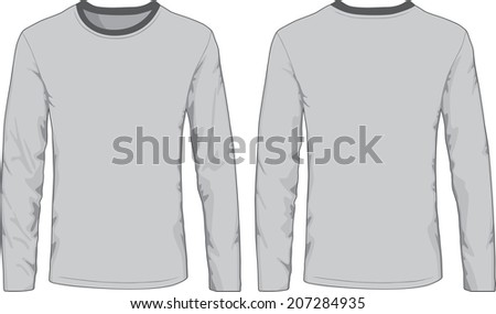 Men's shirts template. Front and back views. Vector illustration. - stock vector
