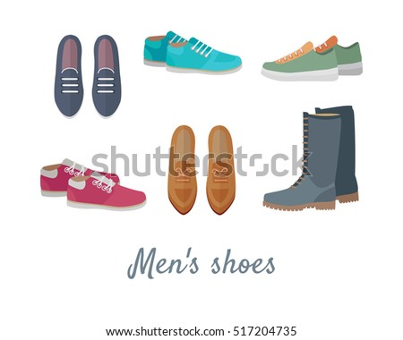 Men's shoes. Stylish footwear for man. Boots athletic shoes, casual footwear. Loafers. Dress boots. Work boots. Chukkas. Duck boots. Gym sneakers. Slippers. Boatshoes. Autumn winter collection. Vector