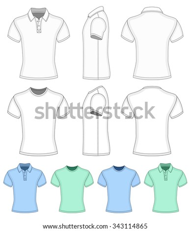 Men's short sleeve polo-shirt and t-shirt. Vector illustration.  Redact color very easy. - stock vector