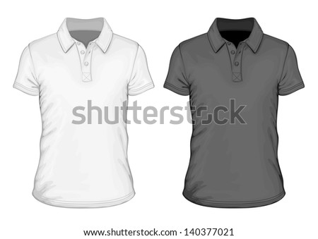 Men's short sleeve polo-shirt design templates (front view). Vector illustration. Spot colors only.