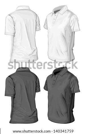 Men's short sleeve polo-shirt design templates (half-turned views). Vector illustration. No mesh, spot colors only - stock vector