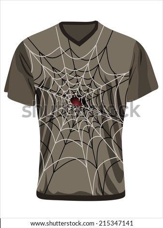 Men's t-shirt design template. Spider web and spider.  - stock vector