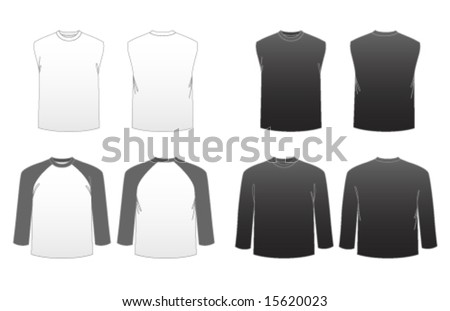 Men's T-shirt Templates Series 3-Long Sleeve, Baseball and Sleeveless Muscle Tees featuring back and front - stock vector
