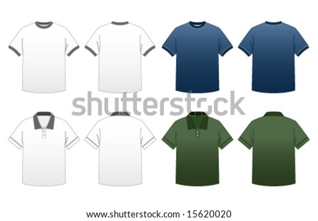 Men's T-shirt Templates Series 2-Ringer and Collared Polo Tees featuring back and front in dark and light versions - stock vector