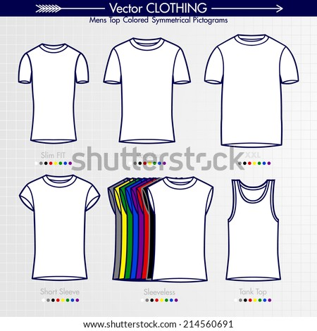 Men's Top. Slim Fit, Regular, XXL, Slim Fit,  Short sleeve, Tank Top. Customizable Outlined Filled Shapes  T-Shirt Collection - stock vector