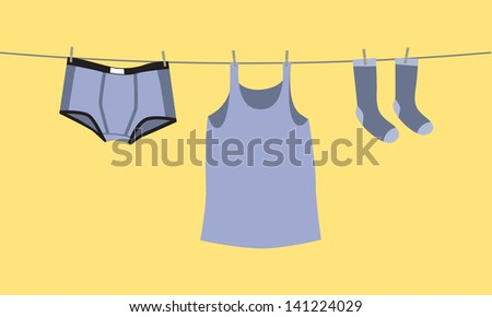 Men's underwear on a clothesline, fix by pegs - illustration - stock vector