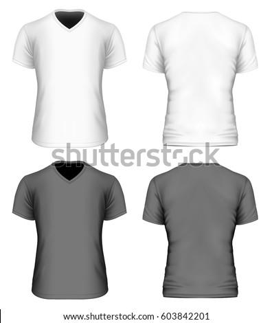 Mens Short Sleeve Black White Tshirt Stock Vector 516749527 ...