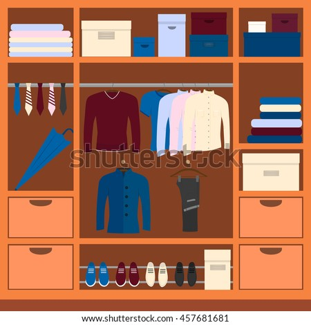 Mens Wardrobe Space Vector Illustration With Clothing Shoes And Accessories Closet For
