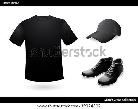 Menâ??s wear black collection - stock vector