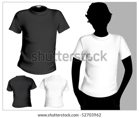 Men's white and black ( back and front) t-shirt template with human body silhouette. - stock vector
