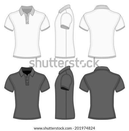 Mens white black short sleeve polo stock vector 201974824 for Collar shirt design template
