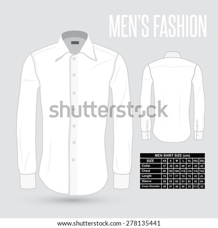 Men's white dress shirt - front and back with size chart - vector illustration - stock vector
