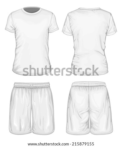 Men's white short sleeve t-shirt and sport shorts design templates (front and back views). Vector illustration. - stock vector